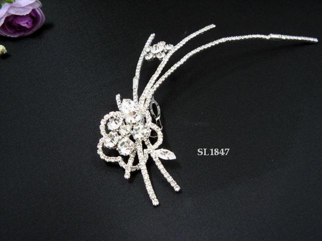 Floral Bridal handmade silver crystal tiara comb,bridesmaid hair accessories comb regal 1847