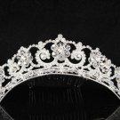 Silver Tiara Bridal Comb, Elegance Crystal Floral Hair Comb Tiara style, Wedding hair Comb 7059