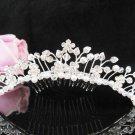 Silver Tiara Bridal Comb, Pearl Crystal Floral Hair Comb Tiara style, Wedding hair Comb