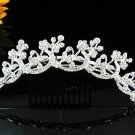 Silver bridal crystal comb,bridesmaid handmade hair accessories,wedding tiara regal h254