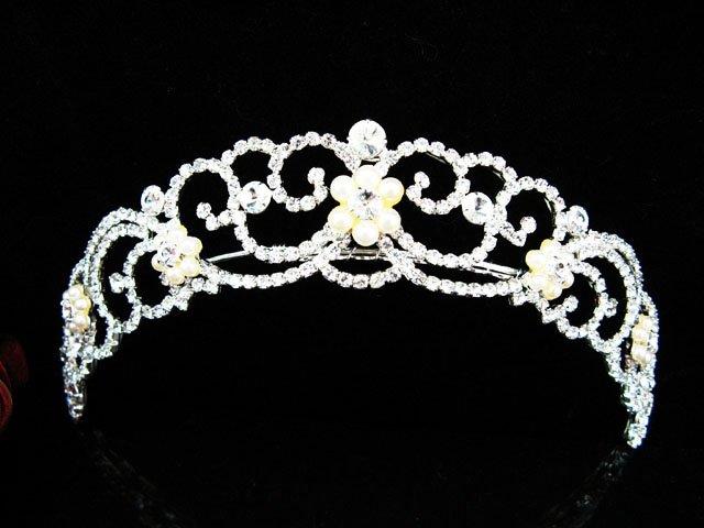 Silver Tiara Bridal Comb, Pearl Crystal Floral Hair Comb Tiara style, Wedding hair Comb 1093
