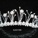 "BRIDAL COMB GENUINE SILVER AUSTRIAN CRYSTAL ""PRINCESS"" TIARA HAIR COMB 1104"
