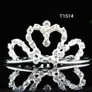 Rhinestone Crystals Ribbon Drop Clear Bride Hair Comb Tiara For Bride Wedding Bridal t1514