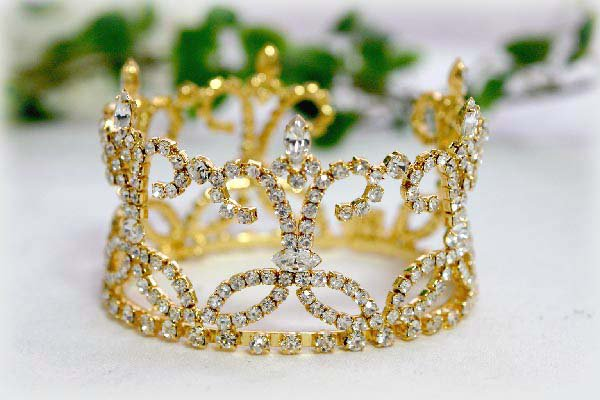 18k golden wedding bridal tiara crystal small crown bridesmaid hair accessories regal 841G