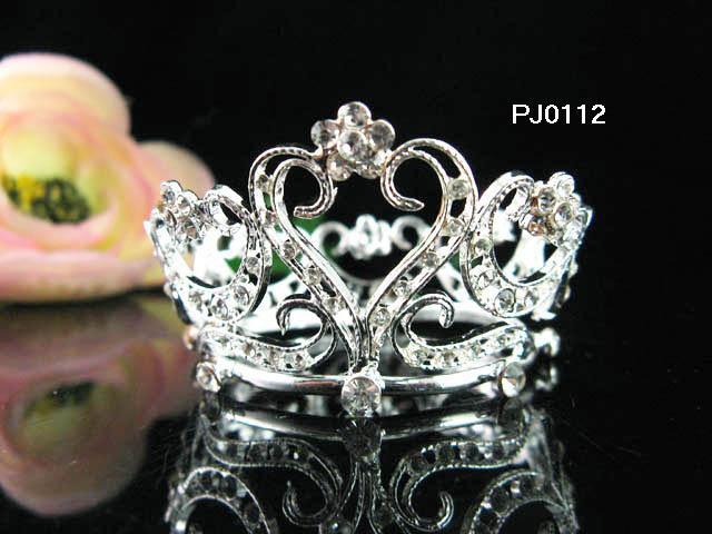 Silver bride bridal tiara, alloy wedding small crown,handmade bridal hair accessories PJ112