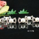 6 piece silver bridal crystal bow-tie pearl hairpin,handmade wedding hair accessories pin veil 1178