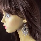 BLACK FANCY DANGLER ALLOY EAR-DROP ACRYLIC HOOK BRIDE BRIDAL EARRINGS SET E3