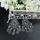 FANCY BLACK DANGLER ALLOY WEDDING EAR-DROP ACRYLIC HOOK BRIDEAL BRIDE EARRINGS SET E6