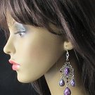 FANCY PURPLE DANGLER ALLOY BRIDAL EAR-DROP ACRYLIC HANDMADE HOOK BRIDE EARRINGS SET E7