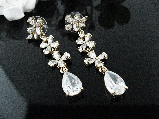 SILVER FANCY FLORAL DANGLER ALLOY METAL EAR-DROP HANDMADE ZIRCON STUD EARRINGS SET E51g