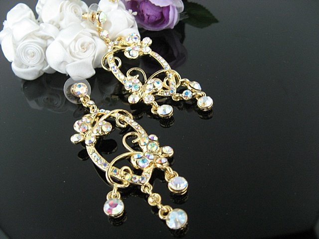 18K GOLDEN DANGLER ALLOY WEDDING EAR-DROP AB CRYSTAL STUD BRIDAL BRIDE EARRINGS SET G170g