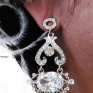 SILVER ZIRCON DANGLER ALLOY WEDDING EAR-DROP CRYSTAL STUD BRIDAL EARRINGS JEWELRY SET G6898SS