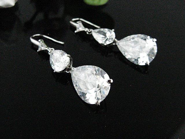 SILVER ZIRON DANGLER ALLOY WEDDING EAR-DROP CRYSTAL STUD BRIDE BRIDAL EARRINGS SET ET44S