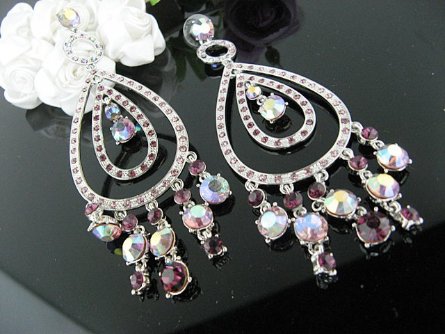 RHODIUM DANGLER ALLOY BRIDE BRIDAL EAR-DROP HANDMADE CRYSTAL STUD WEDDING EARRINGS SET G135PU