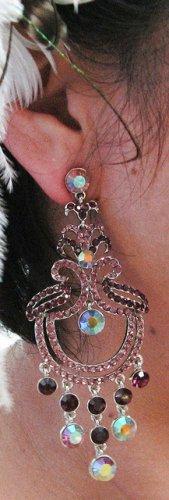 RHODIUM DANGLER ALLOY WEDDING EAR-DROP HANDMADE CRYSTAL STUD BRIDAL EARRINGS SET G137PU
