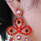 18K GOLD DANGLER ALLOY WEDDING EAR-DROP CRYSTAL STUD BRIDAL EARRINGS SET G146G RED