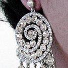RHODIUM DANGLER ALLOY BRIDE EAR-DROP CRYSTAL STUD BRIDAL EARRINGS SET G169