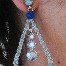 RHODIUM DANGLER ALLOY BRIDE EAR-DROP HANDMADE AB CRYSTAL RHINESTONE STUD BRIDAL EARRINGS G156RY