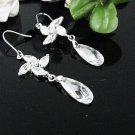 SILVER DANGLER ALLOY BRIDAL EAR-DROP HANDMADE CRYSTAL ZIRCON HOOK BRIDE EARRINGS WE57