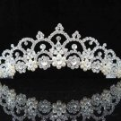 handmade bridal headpiece wedding accessories hair silver pearl tiara huge regal #3053s