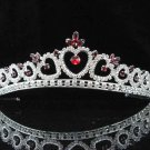 handmade bridal headpiece wedding accessories hair silver crystal red tiara 4124r