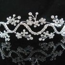 handmade regal wedding accessories metal silver sparkle crystal floral tiara 1875