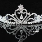 handmade regal wedding accessories metal silver sparkle crystal floral tiara 5980