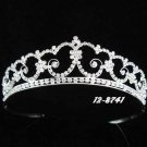 handmade regal wedding accessories metal silver sparkle crystal floral tiara 8741S