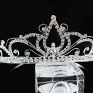 handmade regal wedding accessories metal silver sparkle crystal floral tiara 8745S