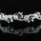 handmade regal wedding accessories metal silver sparkle bridal headband crystal tiara 3574