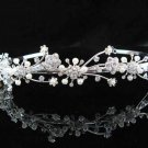handmade regal wedding accessories metal silver sparkle bridal headband crystal tiara 4887