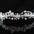 handmade regal wedding accessories metal silver sparkle bridal headband crystal tiara 4887