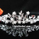 handmade regal wedding accessories metal silver sparkle bridal crystal alloy floral tiara CN1770