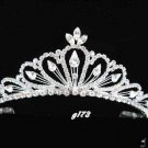 handmade regal wedding accessories metal silver sparkle huge bridal crystal tiara G173
