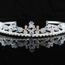 handmade regal wedding accessories metal silver blue rhinestone sparkle bridal crystal tiara 528b