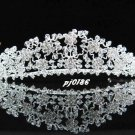handmade crystal wedding accessories metal swarovski silver rhinestone sparkle bridal tiara 186