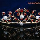 Crystal handmade sweetheart wedding accessories metal GOLD rhinestone sparkle bridal tiara 1395G