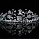 CRYSTAL handmade wedding accessories silver metal floral rhinestone sparkle bridal tiara 5581
