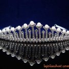 CRYSTAL handmade wedding accessories silver metal pearl rhinestone sparkle bridal tiara crown 6561