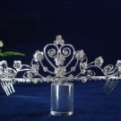 wedding tiara hair accessories, silver rhinestone bride bridal tiara headpiece 1338