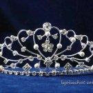 Sweetheart handmade huge crystal regal wedding accessories silver metal rhinestone bridal tiara 1540