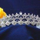 Bride bridesmaid crystal wedding hair accessories silver floral pearl rhinestone bridal tiara 3047