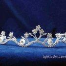 handmade crystal wedding accessories silver metal alloy floral pearl rhinestone bridal tiara 54