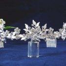 handmade crystal wedding accessories silver metal rhinestone floral alloy bridal tiara 6571s