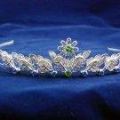 handmade crystal wedding accessories silver metal rhinestone floral alloy bridal tiara 79B