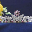 handmade crystal wedding accessories silver metal rhinestone floral alloy bridal tiara 79p