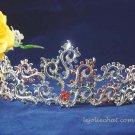 handmade crystal wedding accessories silver metal rhinestone alloy floral bridal tiara 105