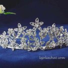 handmade crystal wedding accessories silver metal rhinestone alloy floral bridal tiara 110s