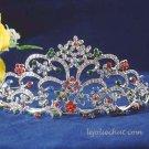 handmade crystal wedding accessories silver metal rhinestone alloy floral bridal tiara 115