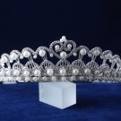 crystal wedding accessories silver metal headpiece pearl rhinestone bridal tiara 4654